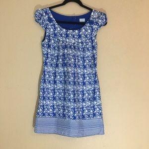 Oasis silk blue print cap sleeved dress size 8/34